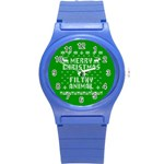 Ugly Christmas Ya Filthy Animal Round Plastic Sport Watch (S) Front