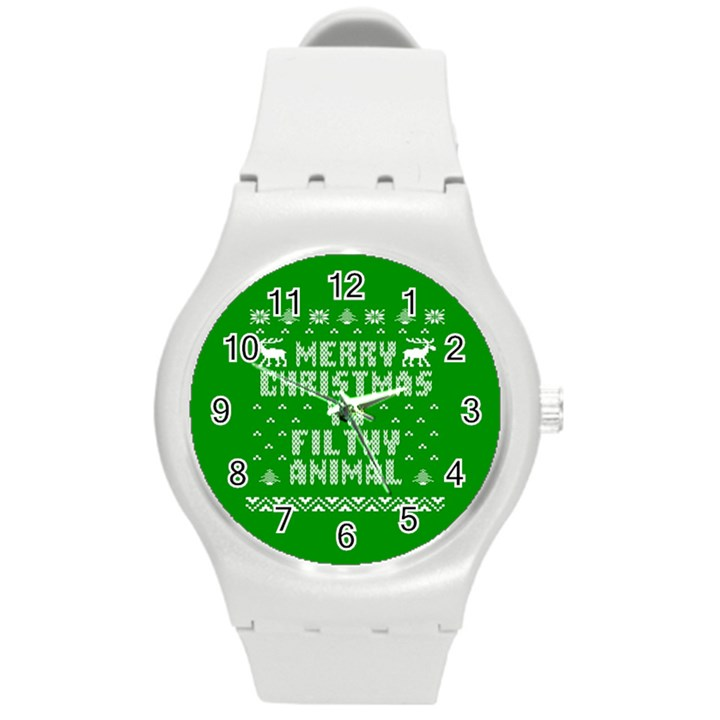 Ugly Christmas Ya Filthy Animal Round Plastic Sport Watch (M)