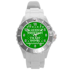 Ugly Christmas Ya Filthy Animal Round Plastic Sport Watch (L)
