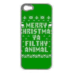 Ugly Christmas Ya Filthy Animal Apple iPhone 5 Case (Silver)