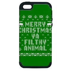 Ugly Christmas Ya Filthy Animal Apple iPhone 5 Hardshell Case (PC+Silicone)