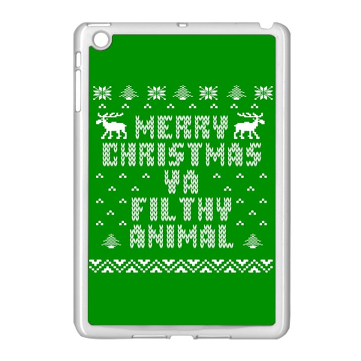 Ugly Christmas Ya Filthy Animal Apple iPad Mini Case (White)