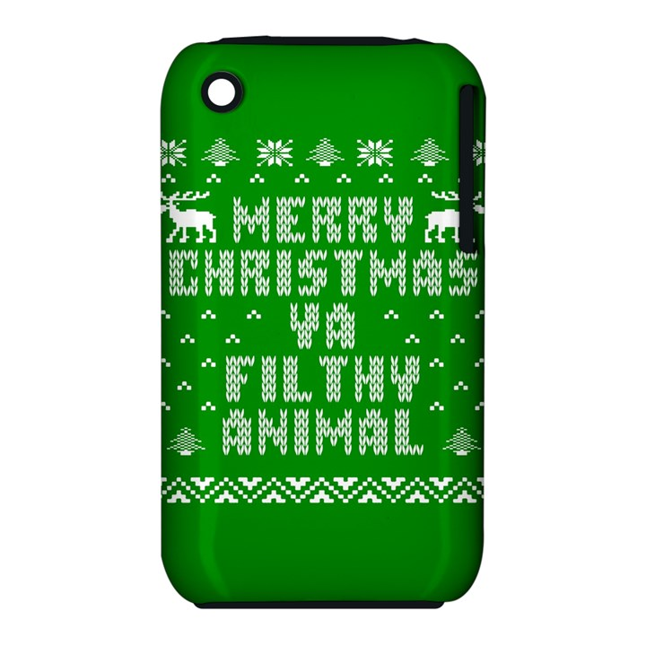 Ugly Christmas Ya Filthy Animal Apple iPhone 3G/3GS Hardshell Case (PC+Silicone)