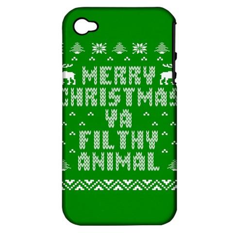 Ugly Christmas Ya Filthy Animal Apple iPhone 4/4S Hardshell Case (PC+Silicone)