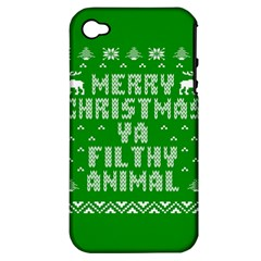 Ugly Christmas Ya Filthy Animal Apple iPhone 4/4S Hardshell Case (PC+Silicone)