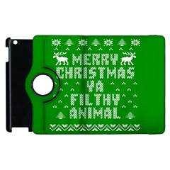 Ugly Christmas Ya Filthy Animal Apple iPad 3/4 Flip 360 Case