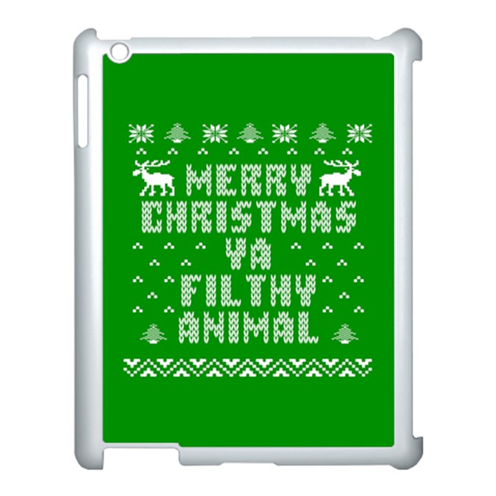 Ugly Christmas Ya Filthy Animal Apple iPad 3/4 Case (White)