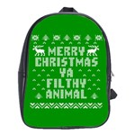 Ugly Christmas Ya Filthy Animal School Bags (XL)  Front