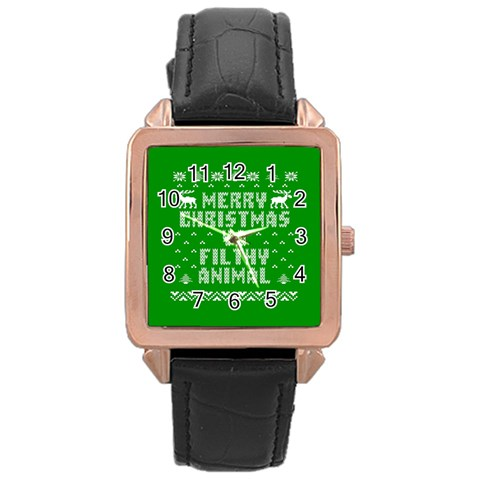 Ugly Christmas Ya Filthy Animal Rose Gold Leather Watch