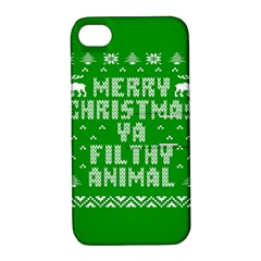 Ugly Christmas Ya Filthy Animal Apple iPhone 4/4S Hardshell Case with Stand