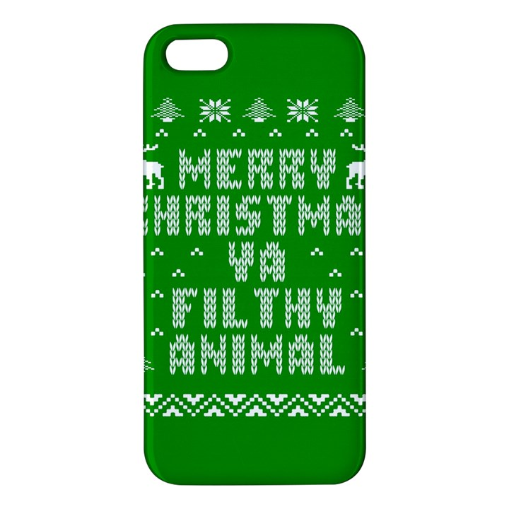 Ugly Christmas Ya Filthy Animal Apple iPhone 5 Premium Hardshell Case