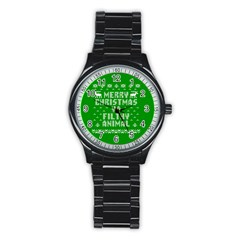 Ugly Christmas Ya Filthy Animal Stainless Steel Round Watch