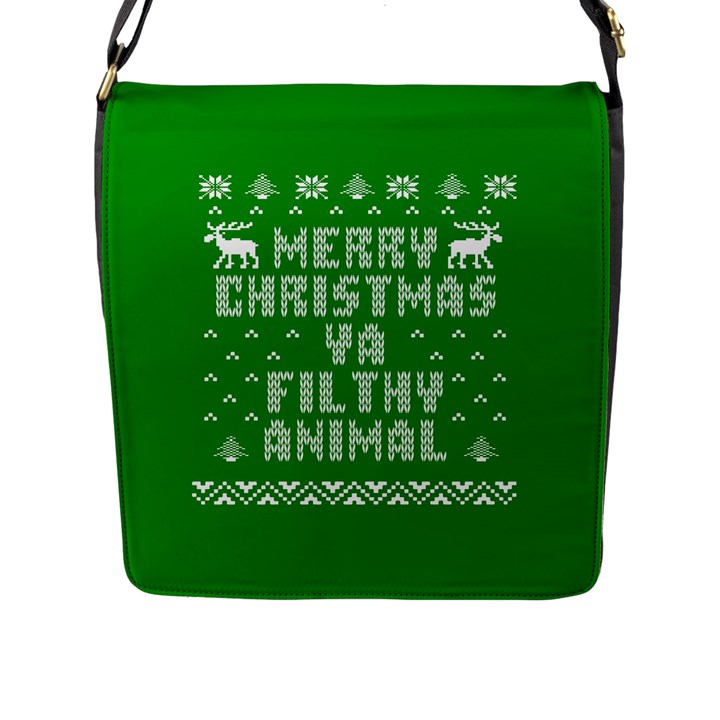 Ugly Christmas Ya Filthy Animal Flap Messenger Bag (L)
