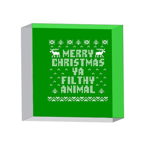 Ugly Christmas Ya Filthy Animal 4 x 4  Acrylic Photo Blocks