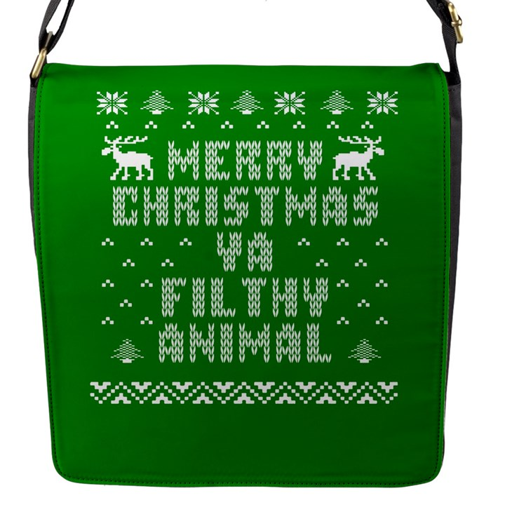 Ugly Christmas Ya Filthy Animal Flap Messenger Bag (S)