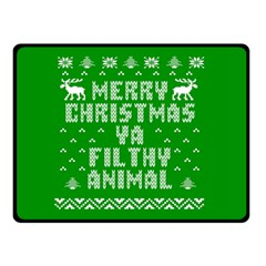 Ugly Christmas Ya Filthy Animal Double Sided Fleece Blanket (Small)