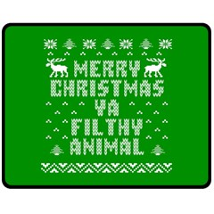 Ugly Christmas Ya Filthy Animal Double Sided Fleece Blanket (Medium)