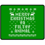 Ugly Christmas Ya Filthy Animal Double Sided Fleece Blanket (Medium)  60 x50 Blanket Front