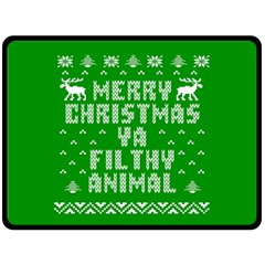 Ugly Christmas Ya Filthy Animal Double Sided Fleece Blanket (large)