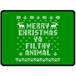 Ugly Christmas Ya Filthy Animal Double Sided Fleece Blanket (Large)  80 x60 Blanket Front