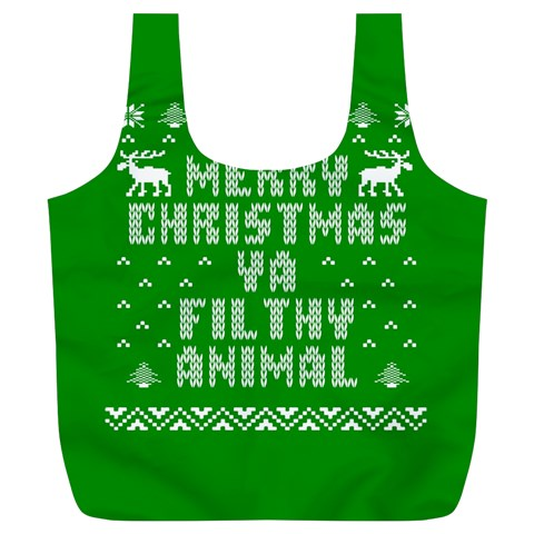 Ugly Christmas Ya Filthy Animal Full Print Recycle Bags (L)