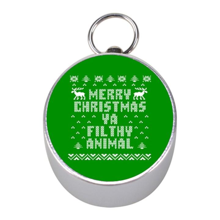 Ugly Christmas Ya Filthy Animal Mini Silver Compasses