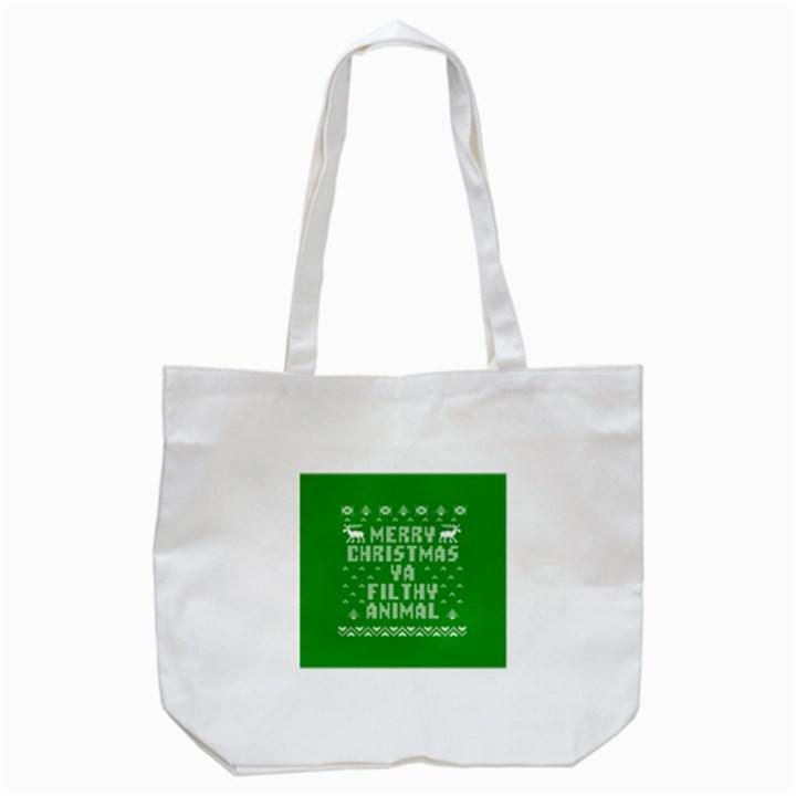 Ugly Christmas Ya Filthy Animal Tote Bag (White)