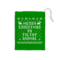 Ugly Christmas Ya Filthy Animal Drawstring Pouches (Medium)