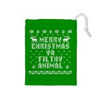 Ugly Christmas Ya Filthy Animal Drawstring Pouches (Medium)  Front