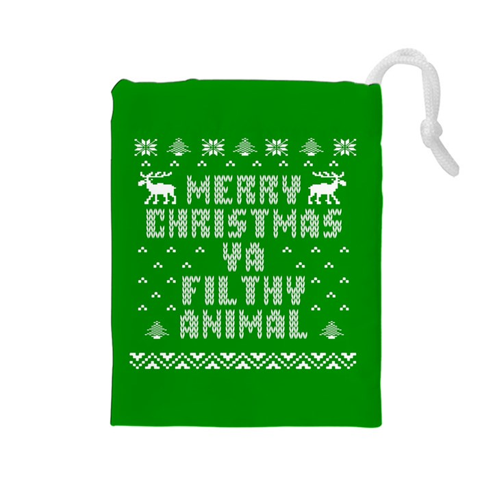 Ugly Christmas Ya Filthy Animal Drawstring Pouches (Large)