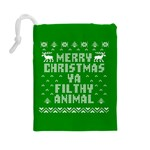 Ugly Christmas Ya Filthy Animal Drawstring Pouches (Large)  Back