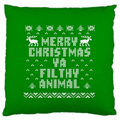 Ugly Christmas Ya Filthy Animal Large Flano Cushion Case (One Side)