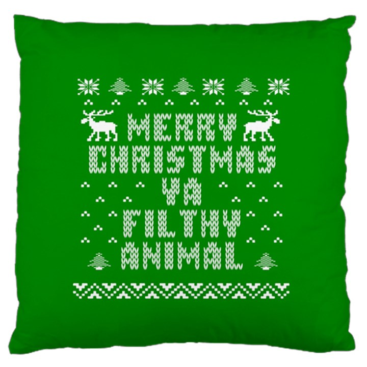Ugly Christmas Ya Filthy Animal Large Flano Cushion Case (Two Sides)