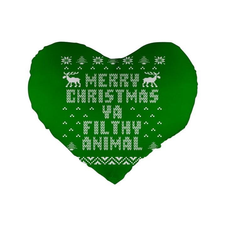 Ugly Christmas Ya Filthy Animal Standard 16  Premium Flano Heart Shape Cushions