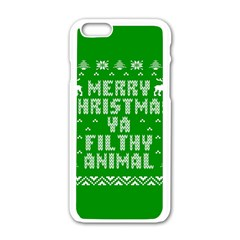 Ugly Christmas Ya Filthy Animal Apple iPhone 6/6S White Enamel Case