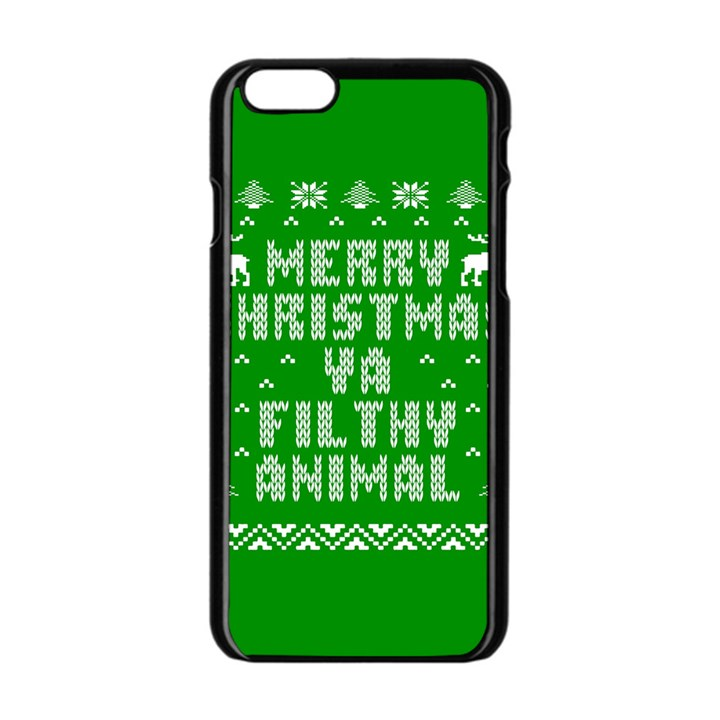 Ugly Christmas Ya Filthy Animal Apple iPhone 6/6S Black Enamel Case