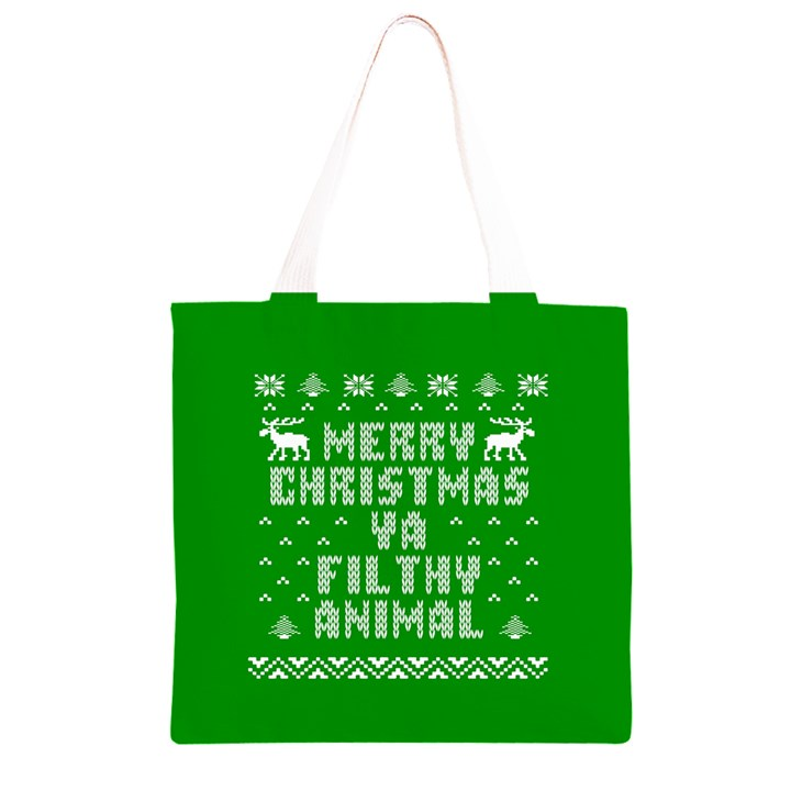 Ugly Christmas Ya Filthy Animal Grocery Light Tote Bag