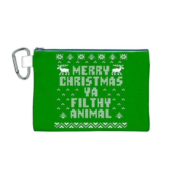 Ugly Christmas Ya Filthy Animal Canvas Cosmetic Bag (M)