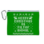 Ugly Christmas Ya Filthy Animal Canvas Cosmetic Bag (L) Front