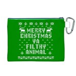 Ugly Christmas Ya Filthy Animal Canvas Cosmetic Bag (XL) Back
