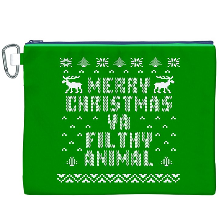 Ugly Christmas Ya Filthy Animal Canvas Cosmetic Bag (XXXL)