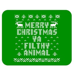 Ugly Christmas Ya Filthy Animal Double Sided Flano Blanket (Medium)