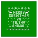Ugly Christmas Ya Filthy Animal Large Satin Scarf (Square) Front