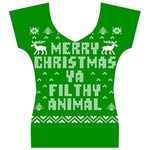 Ugly Christmas Ya Filthy Animal Women s V-Neck Cap Sleeve Top Front