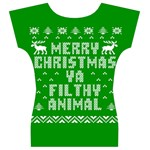 Ugly Christmas Ya Filthy Animal Women s V-Neck Cap Sleeve Top Back