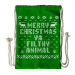Ugly Christmas Ya Filthy Animal Drawstring Bag (Large) Front