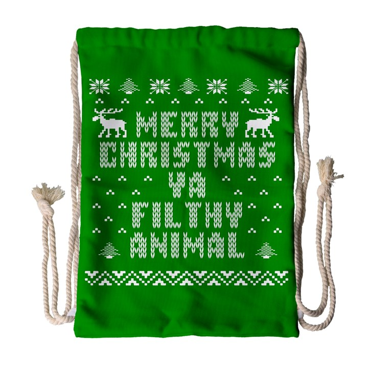 Ugly Christmas Ya Filthy Animal Drawstring Bag (Large)