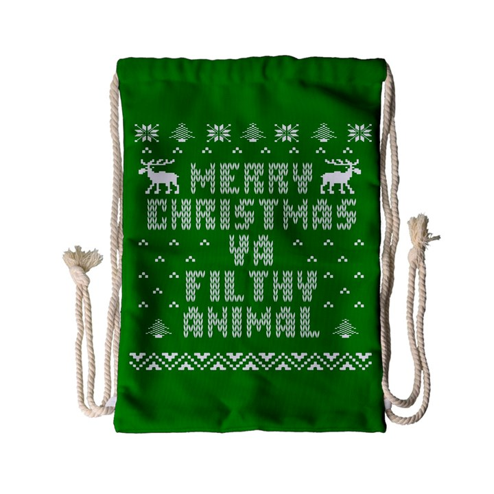 Ugly Christmas Ya Filthy Animal Drawstring Bag (Small)