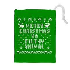 Ugly Christmas Ya Filthy Animal Drawstring Pouches (Extra Large)
