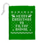 Ugly Christmas Ya Filthy Animal Drawstring Pouches (Extra Large) Back